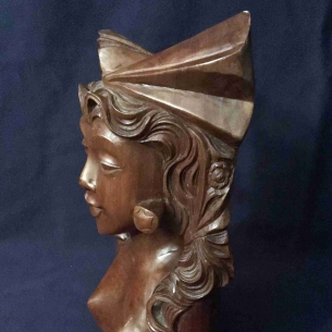 SouthEast Huali Wood Carving Woman Head  Portrait ~BS29034_东南亚花梨木雕妇女头像